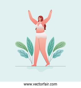 plus size woman cartoon in underwear with hands up and leaves vector design