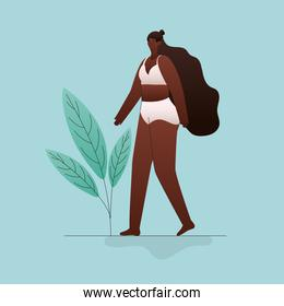 plus size black woman cartoon in underwear with leaves vector design