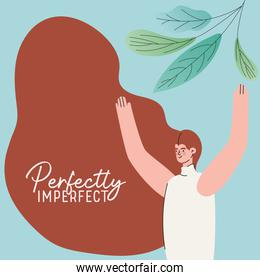 perfectly imperfect woman cartoon with leaves vector design