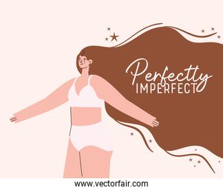 perfectly imperfect plus size woman cartoon in underwear vector design
