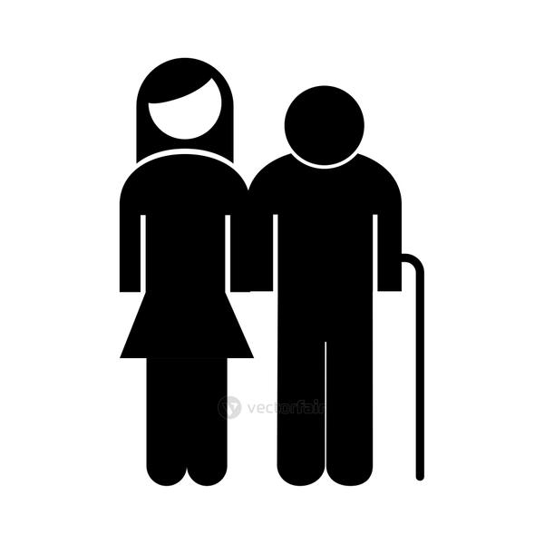 old grandfather with daughter avatar silhouette style icon