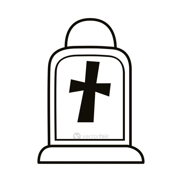 cemetery tomb with cross line style icon
