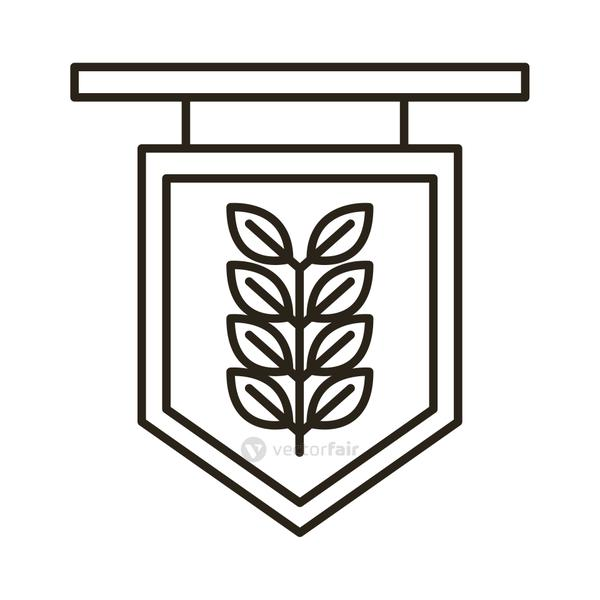 label with barley branch oktoberfest line style icon