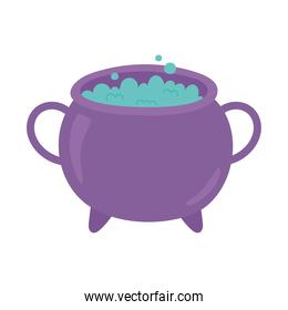 happy halloween cauldron with potion spell isolated design icon