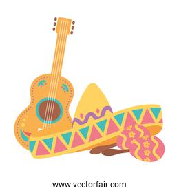 day of the dead, traditional hat guitar and maracas mexican celebration