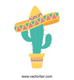 day of the dead, potted cactus with traditional hat mexican celebration
