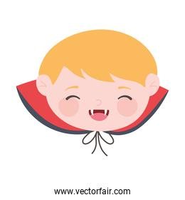 happy halloween, cute face boy dracula costume isolated design icon