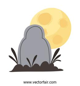 happy halloween tombstone cemetery moon and grass