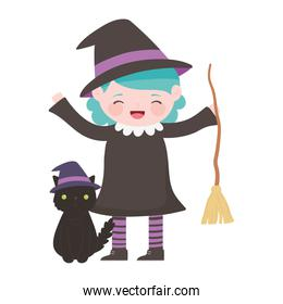 happy halloween, girl with witch costume broom and cat