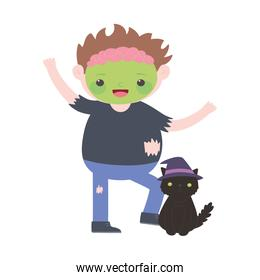 happy halloween, boy in monster costume with balck cat with hat
