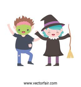 happy halloween, kids with zombie and witch costumes cartoon