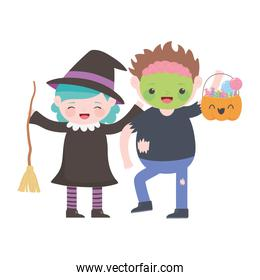 happy halloween, girl witch with broom and boy zombie with pumpkin