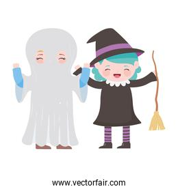 happy halloween, boy ghost and girl witch with broom costumes