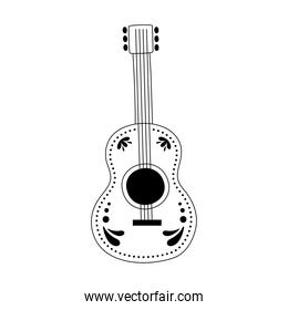 guitar music instrument isolated design icon line style