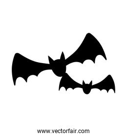 flying bats animals isolated design icon line style