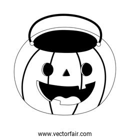 happy halloween, funny pumpkin shaped bucket line style