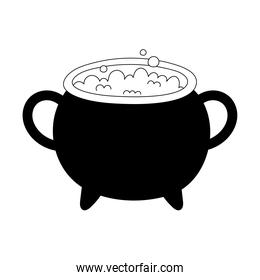 happy halloween cauldron with potion spell isolated design icon line style