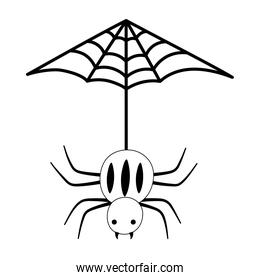 hanging spider cobweb isolated design icon line style