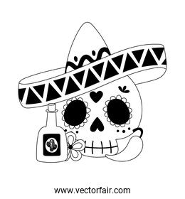 day of the dead, skull with hat tequila chili pepper and flower mexican celebration line style