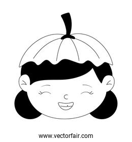 happy halloween, cute girl with hat pumpkin face costume isolated design icon line style