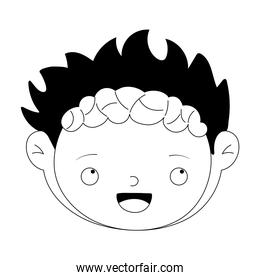 happy halloween, cute boy zombie face costume isolated design icon line style