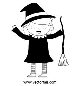 happy halloween, girl witch costume cartoon character isolated design icon line style