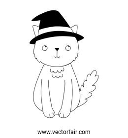 happy halloween, cat with hat costume cartoon character isolated design icon line style