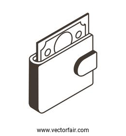 wallet with bill line style icon vector design