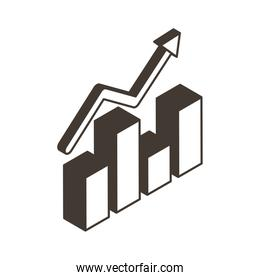 Bars chart with arrow line style icon vector design