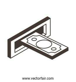 bill in atm hole line style icon vector design