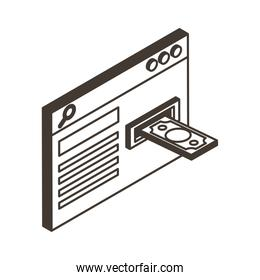 webpage with bill line style icon vector design