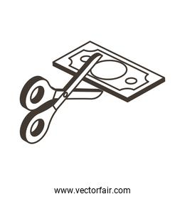 scissors cutting bill line style icon vector design