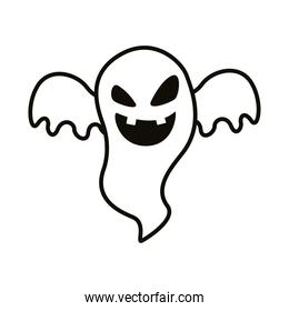 halloween ghost floating style line icon