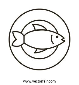 dish with fish seafood line style icon