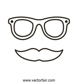 mustache and glasses hipster line style icon