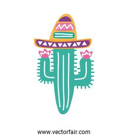 cactus with mexican hat flat style icon