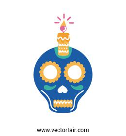 traditional mexican skull head with candle flat style icon