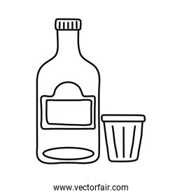 tequila bottle and cup mexican line style icon