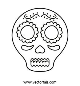 traditional mexican skull head line style icon
