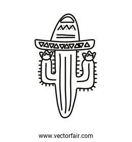 cactus with mexican hat line style icon
