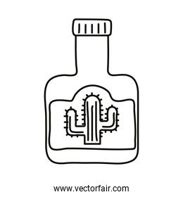 tequila bottle with cactu mexican line style icon