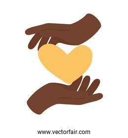 afro hands humans lifting heart flat style icon