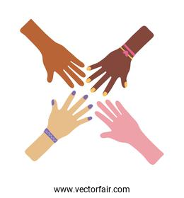 interracial hands teamwork flat style icon