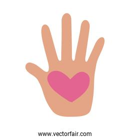 hand human stop with heart protesting flat style icon
