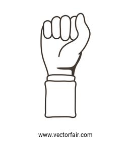 afro hand human fist protesting line style