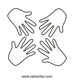 interracial hands teamwork line style icon