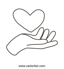 hand human lifting heart line style icon