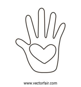 hand human stop with heart protesting line style icon