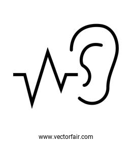 ear shape and sound wave icon, vector illustration