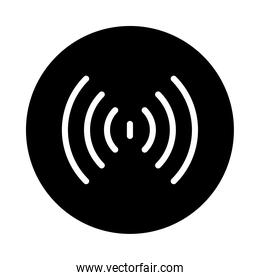 circle with sound waves icon, vector illustration